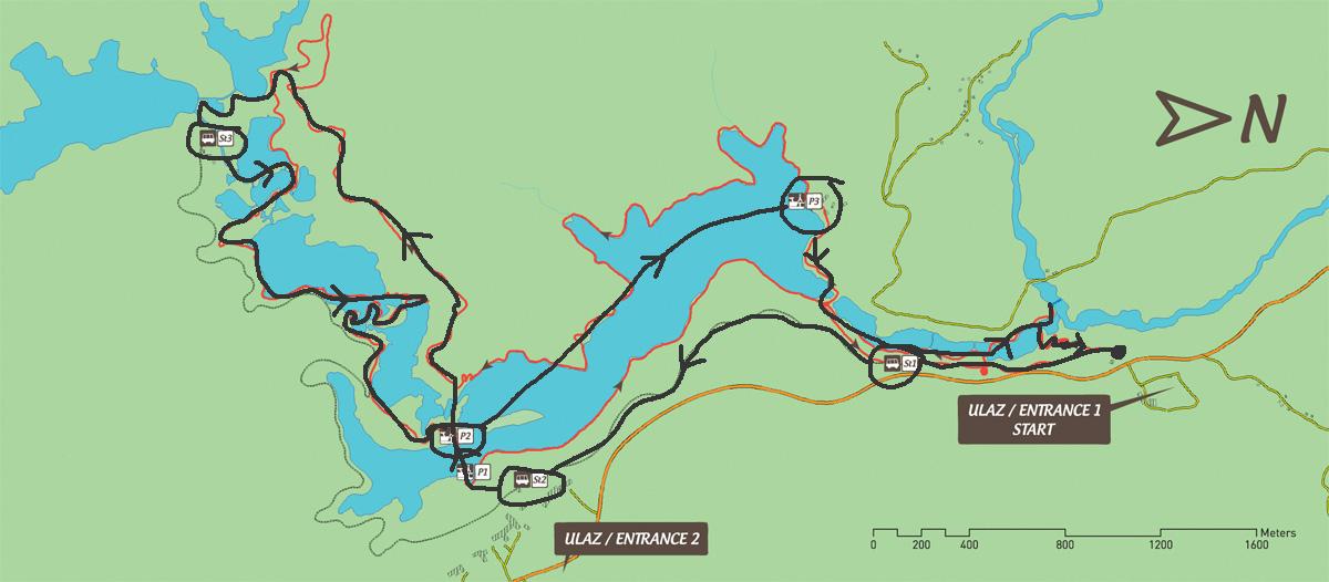 Pájuška na cestách - Plitvická jezera, mapa trasy